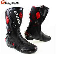Botas de microfibra de cuero para motocicleta, botas de velocidad para hombre, botas de moto de cross hasta la rodilla, botas de Motocross a motor