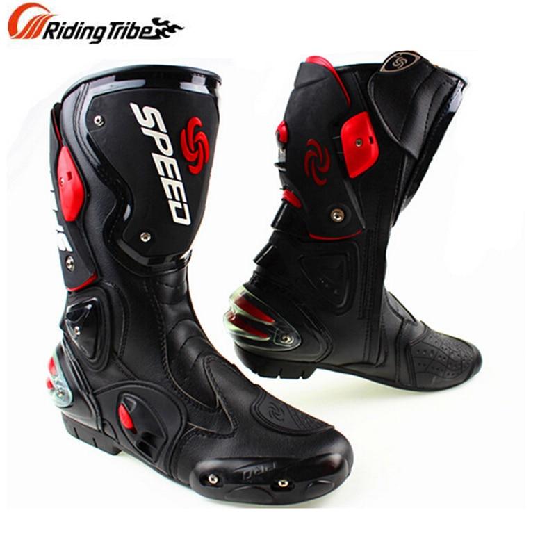 Bottes de moto en cuir microfibre bottes de moto de course de vitesse pour hommes bottes de Motocross à hauteur du genou