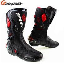 Botas de moto de cuero de microfibra para hombre, botines de Motocross hasta la rodilla para carreras de velocidad
