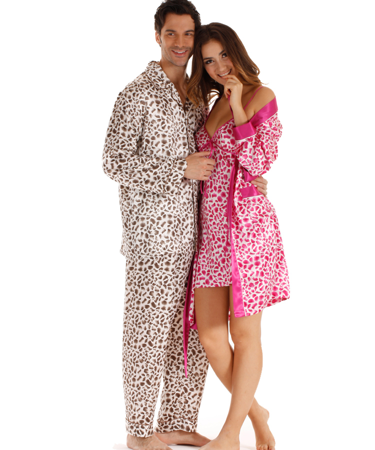 e41df0d9cb6 Women Pajamas sexy cheap leopard silk Set Nightgowns Skirt+Gowns Two  Sleepwear Sping couple nightshirts-in Robe   Gown Sets from Underwear    Sleepwears on ...