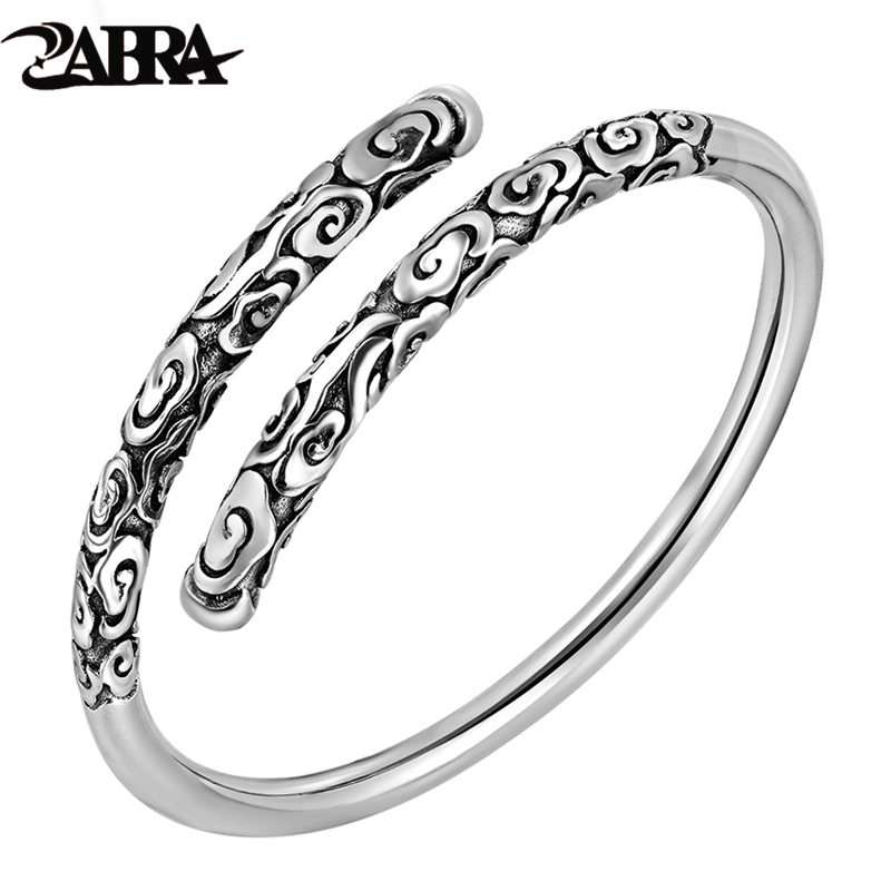 купить ZABRA Real Solid 999 Sterling Silver Adjustable 4mm Vintage Buddha Open Cuff Bracelet Bangle Men Women Punk Handmade Men Jewelry по цене 3229.88 рублей