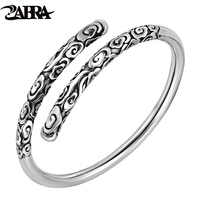 ZABRA Real Solid 999 Sterling Silver Adjustable 4mm Vintage Buddha Open Cuff Bracelet Bangle Men Women Punk Handmade Men Jewelry
