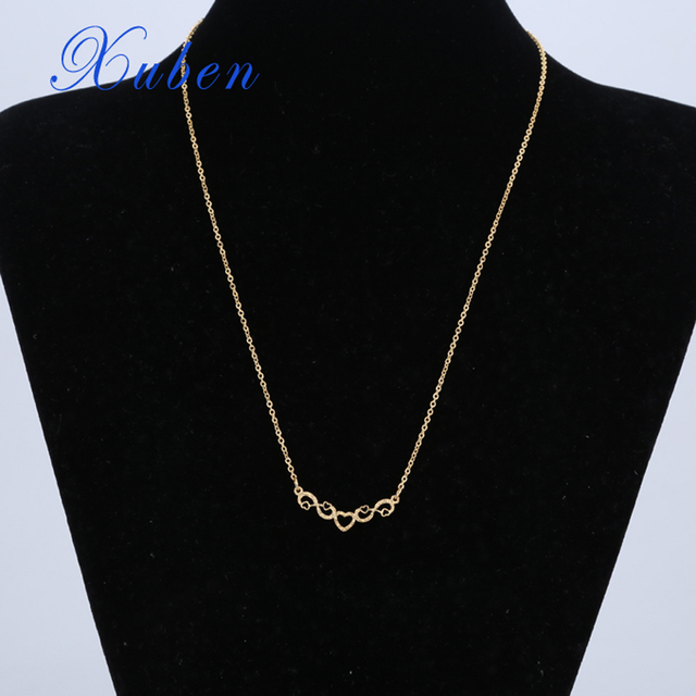"""Xuben Stainless steel gold color necklaces Thin o-style Chains 17"""" Necklace Women Girls gift Jewelry love heart"""