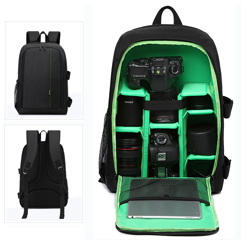 Upgrade Waterproof Backpack Digital DSLR Photo Padded Bag with Rain Cover Laotop 15.6 Multi-functional Camera Soft Video Case