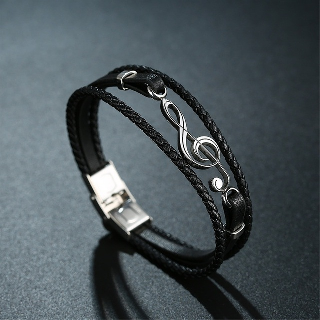 Musical note leather bracelets
