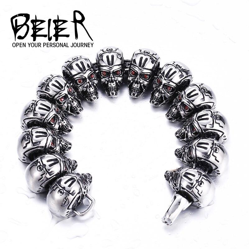 Beier 316L Stainless Steel bracelet punk skull Bracelet For Biker Man Unique Design Jewelry Bracelet For Boy BC8-011 fashion 316l stainless steel man bracelet skull pattern h012