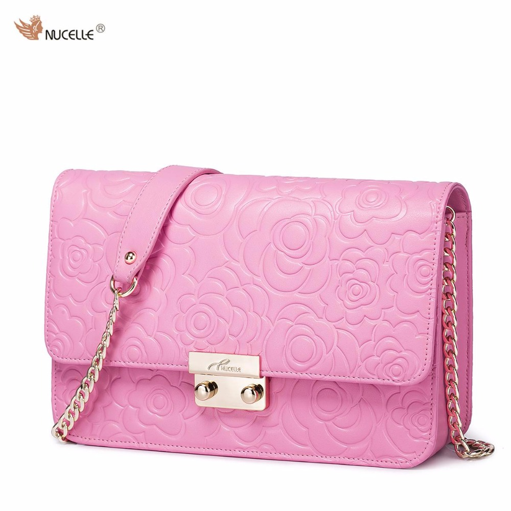 ФОТО NUCELLE Brand Design Classic Embossed Cow Leather Handbag Shoulder Crossbody Chains Cluctch Bags For Women Ladies