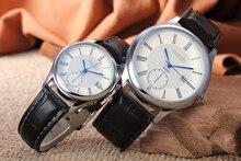Лидер продаж Pu кожа пару часов Для мужчин Для женщин Lover пары Спортивные кварцевые наручные часы с календарем Relogio Masculino