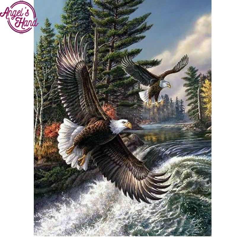 Diamond embroidery forest scenery diy diamond painting cross stitch full broderie diamant needlework mosaic pattern animal eagle