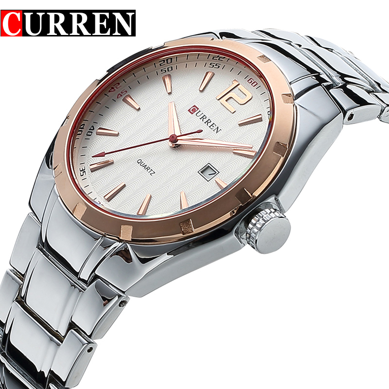 CURREN Fashion Brand Quartz Watch Casual Men Analog Display Date Men's Wristwatch Luxury Steel Clock Male erkek kol saati curren luxury brand men watches full stainless steel analog display auto date male fashion quartz watch waterproof xfcs clock