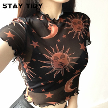 STAY TIDY Mesh See Through Sun And Moon Print Crop Tops Women 2019 Summer Sexy Ruffles Short Sleeve T-shirt Streetwear Tees