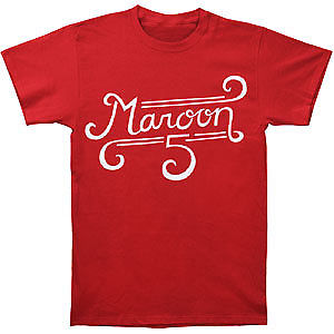 Maroon 5 Mens Curl Logo Mens Slim Fit T Slim Fit T-shirt Red Summer The New Fashion For Short Sleeve