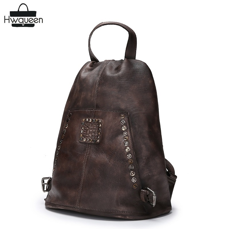 Theftproof Designer Genuine Leather Girls Studs Backpack Retro Natural Cowhide Women Casual Rivets Backpack with Hidden Closure