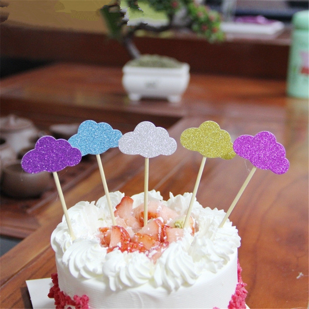 CRLEY Wholesale 30pcs clouds cake topper cute small ...