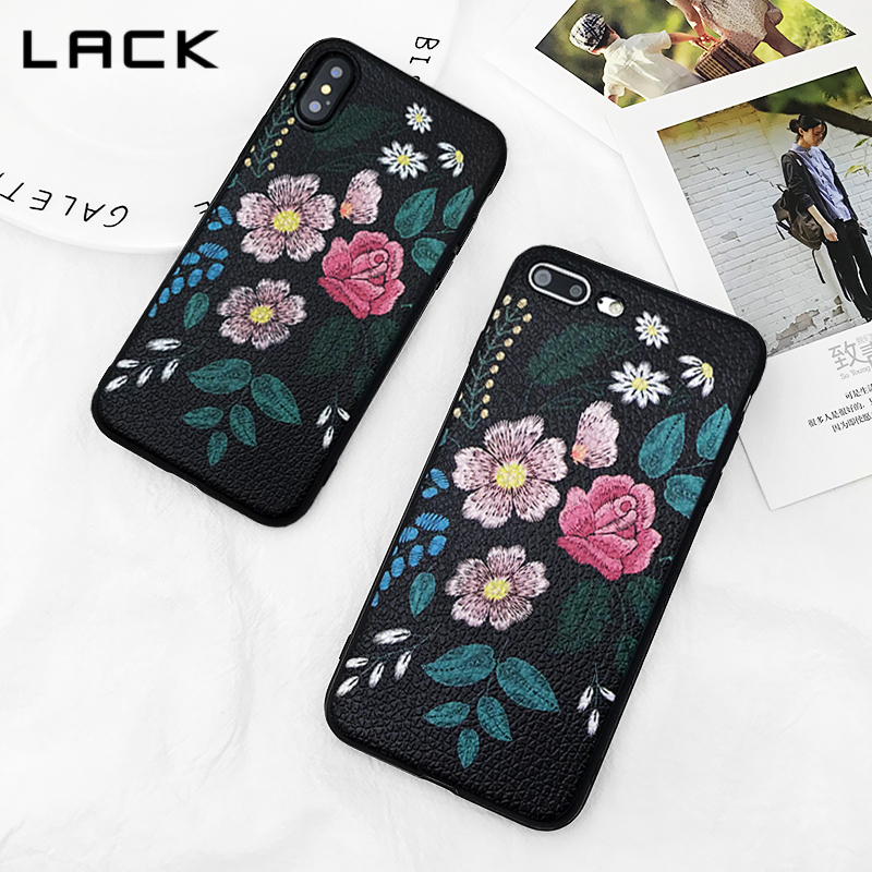 LACK Classic Black Soft Phone Cases For iphone 7 6 6S 8 Plus Case For iphone X Vintage Art Roses Flower Leaf Back Cover Coque