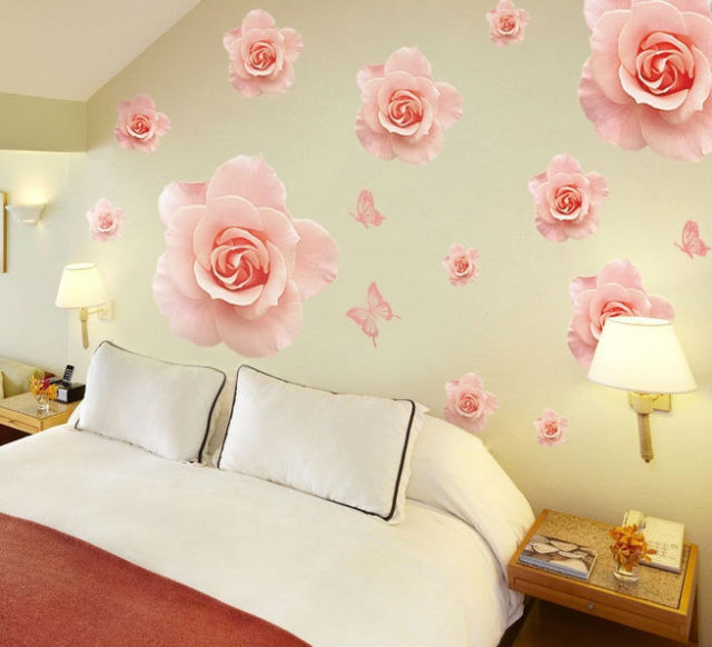 Rose Flowers Patterns Wall Stickers Decals Women Salon Bedoom Furniture  Home Decor Pink Blossom Self Adhesive