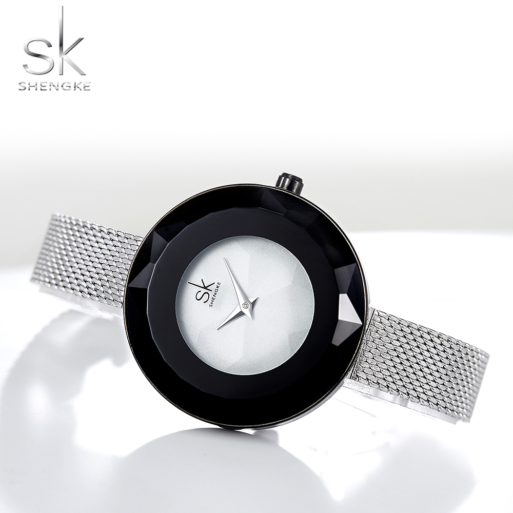 Shengke Fashion Prism Slim Women's Watches Top Brand Luxury SK Watch Women Watches Ladies Silver Watch Clock Reloj Mujer