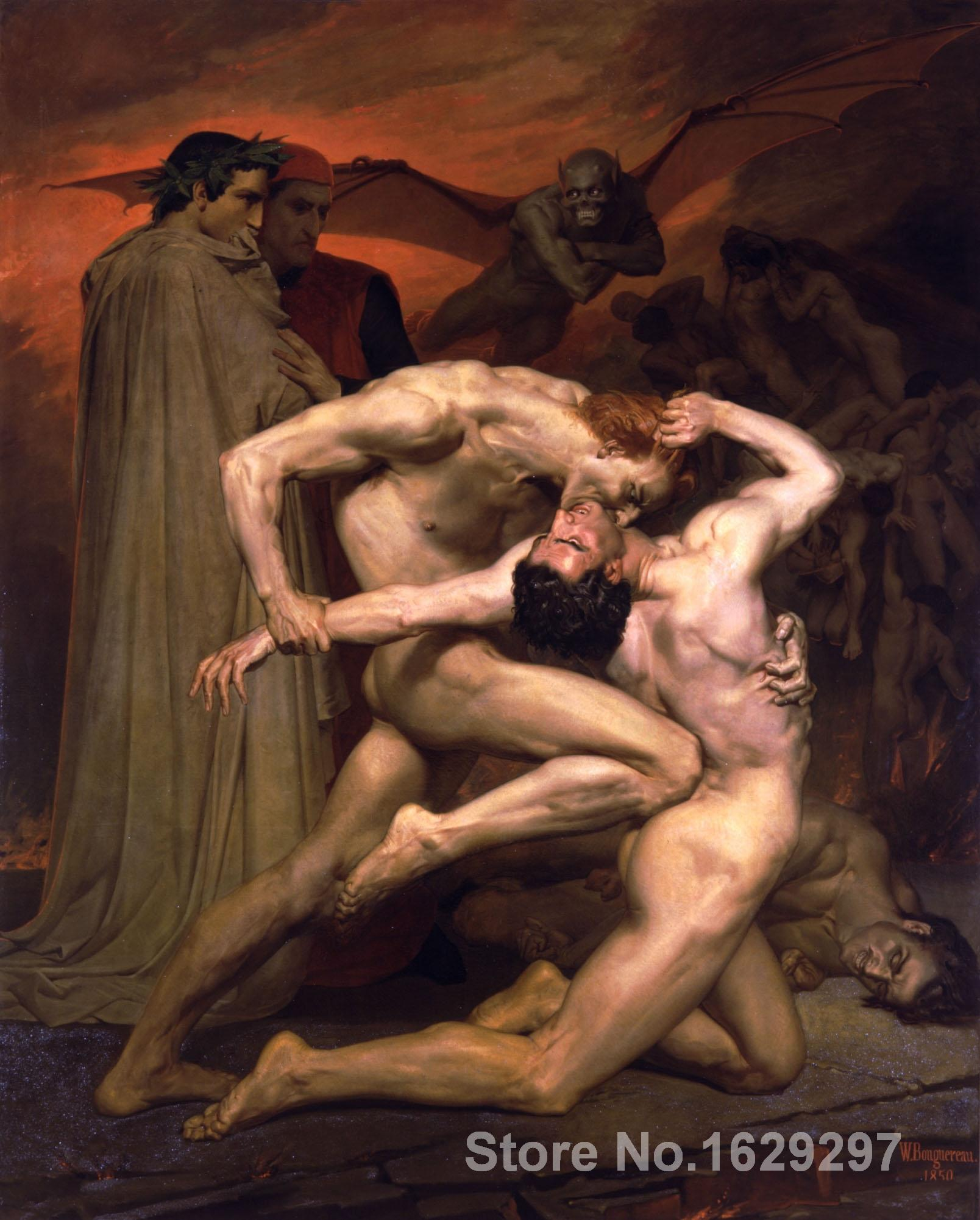Portrait art Dante and Virgil in Hell William Adolphe Bouguereau Paintings Reprodution Hand painted High quality