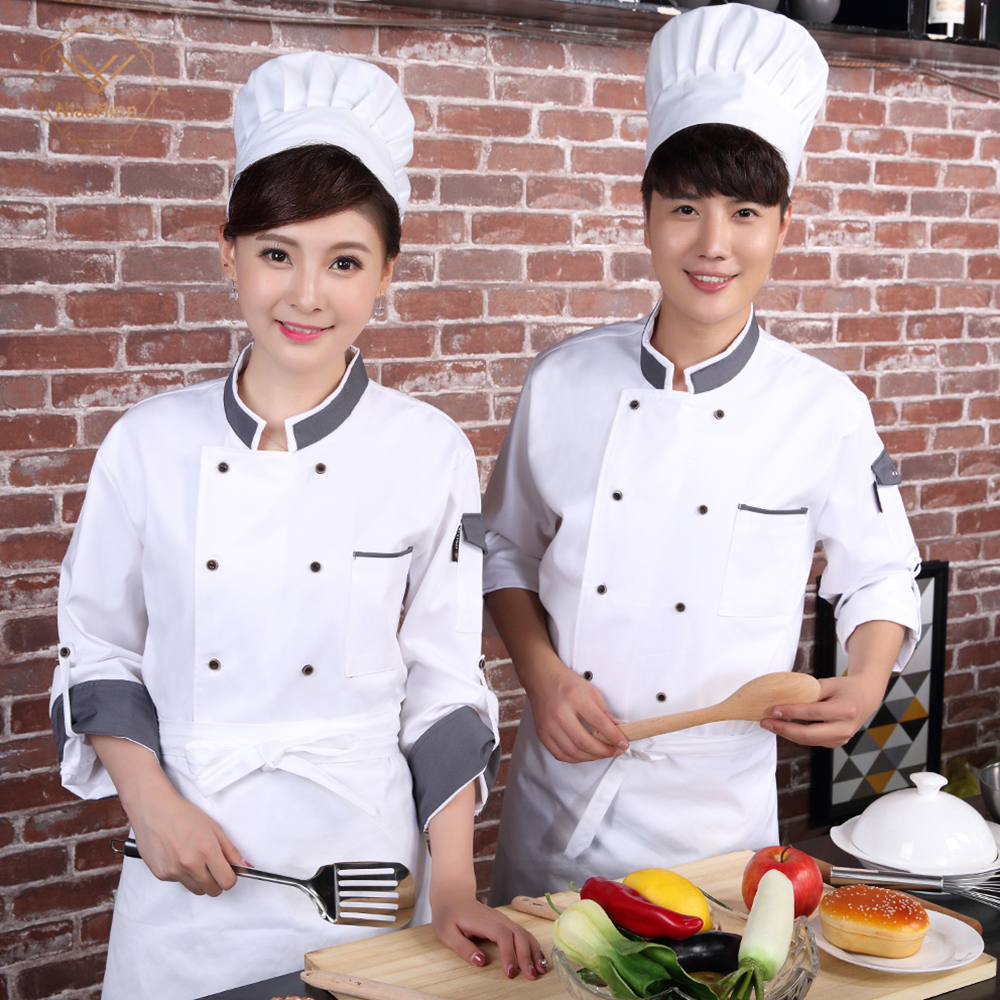 Double Breasted Long Sleeve Chef's Costume Restaurant Hotel Food Service Kitchen Cozinha Sushi Master Cook Overalls Uniform Coat