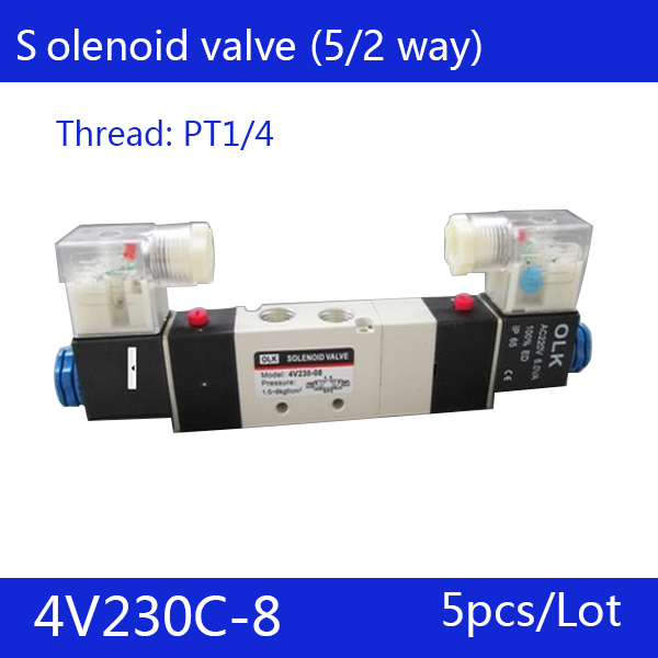 5PCS Free Shipping 1/4 2 Position 5 Port Air Solenoid Valves 4V230C-08 Pneumatic Control Valve , DC24v AC36v AC110v 220v 380v women s fashion pointed toe elegant women pumps high heels flower embroider silk super high heel 9cm black green slip on shoes
