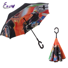 Reverse Folding Double Layer Inverted Umbrella and Self Standing Sunny or Rainy amphibious Travel Umbrella with C shape Handle