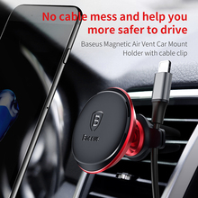 Baseus Brand Car phone holder For Iphone xiaomi sumsung Cable Clip air vent mount magnet stand support smartphone voiture