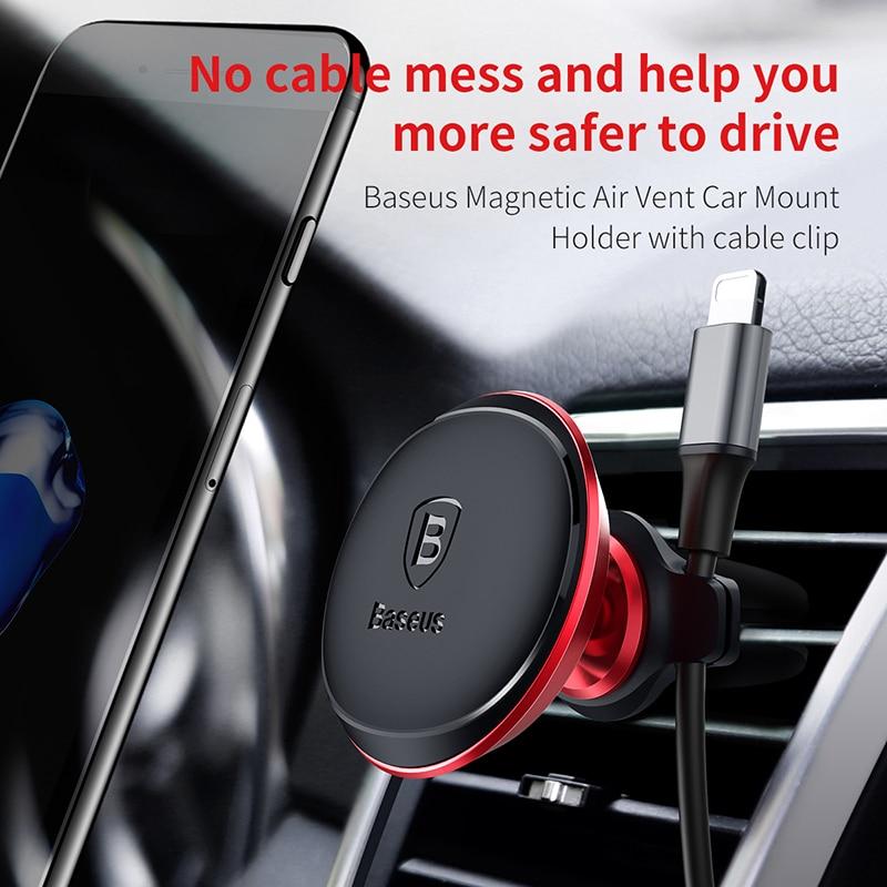 Baseus Marca Auto phone holder Per Iphone xiaomi sumsung Cavo Clip air vent mount magnet supporto basamento del telefono smartphone voiture