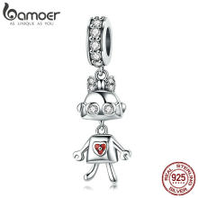BAMOER Hot Sale 925 Sterling Silver Childhood Robot Lady Pendant Charms fit Women Charm Bracelets & Necklace DIY Jewelry SCC843(China)