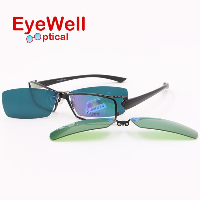 New style full rim alloy myopia presbyopia optical frame  and clip-on sets driving fishing sun lenses and night vision hot sell