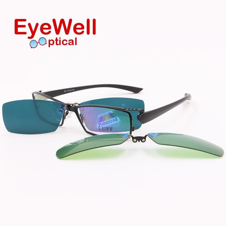 New style full rim alloy myopia presbyopia optical frame and clip on sets driving sun lenses
