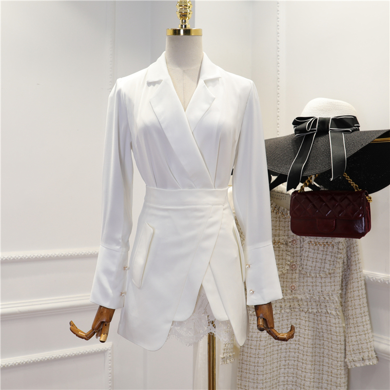 HIGH STREET Newest Fashion Runway 2019 Suit Set Women s Long Sleeve Notched Collar Top Asymmetrical