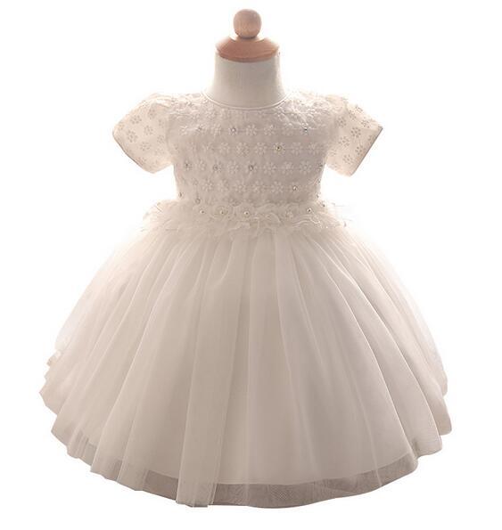 d1318304c0 Dziecko Dziewczyny Pageant Sukienki Wizytowe 2017 Chrzest Kwiaty Suknia  Niemowląt Dziewczyny Princess Tutu Dress Satin Dzieci