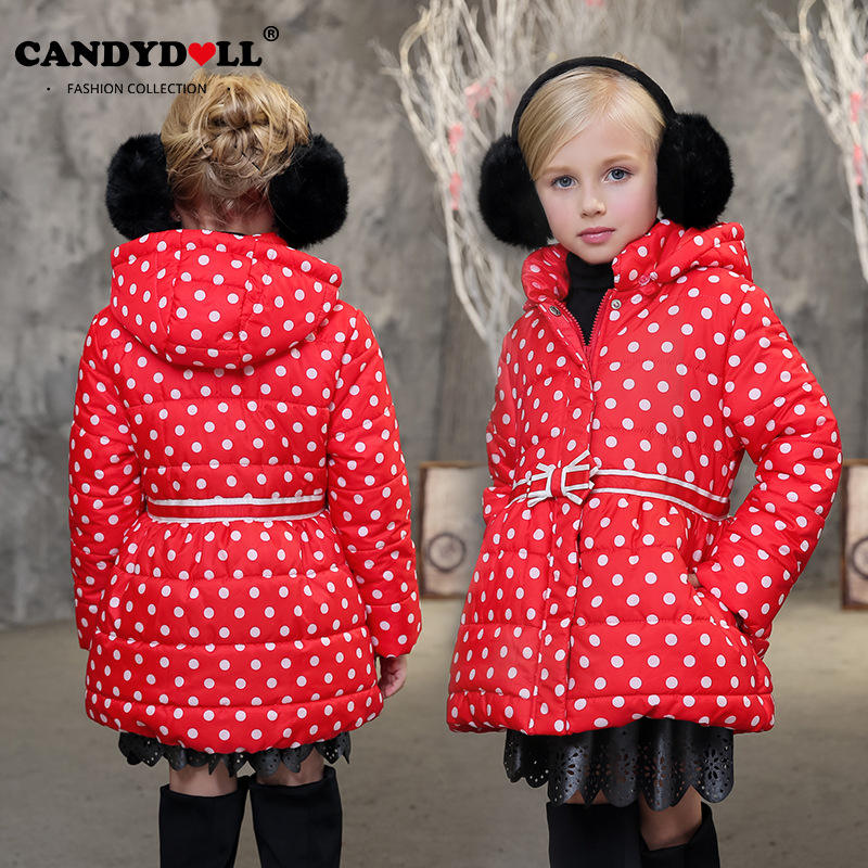 Candydoll Children Girls Winter Coat Outerwear Cotton-padded Hooded Jacket Kids Casual Coat Dot Girls Cloth Parka 4-12Y SAJ3101