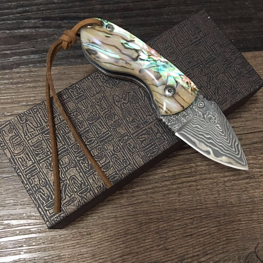 Tools : 58HRC Handmade Damascus steel blade Pocket Folding Knife with  shell  Handle utility knife  gift knife Outdoor survival knife