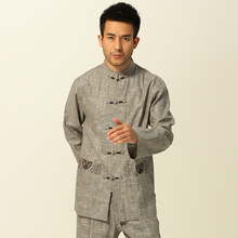 Chinese Tradtional Costume Mens Linen Suit  Jacket Coat Size M to 3XL