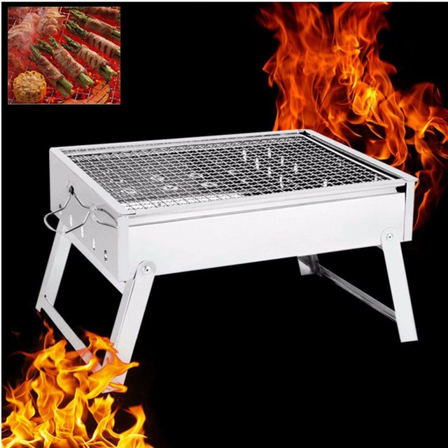 Portable Stainless Steel Grill Stove Rack Pan Roaster Outdoor Charcoal  Barbecue Home Oven Set Cooking Picnic