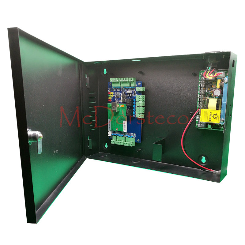 Two Doors Access Control Panel Door Security + 12V5A Power Supply + Metal Box High Quality Wiegand Tcp/ip Access Control System