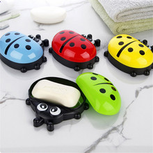2018 Colorful Ladybug Soap Box Cute Cartoon Travel Dish Organizer Kids Bathroom Holder with Corver Case Hot Sale