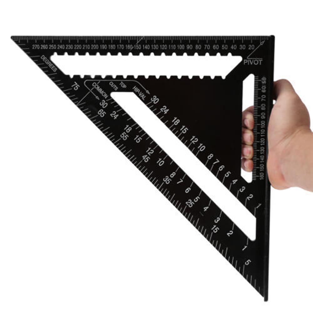Règle d'angle 7/12 pouce métrique en alliage d'aluminium triangulaire mesure règle boiserie vitesse carré Triangle Angle rapporteur Trammel