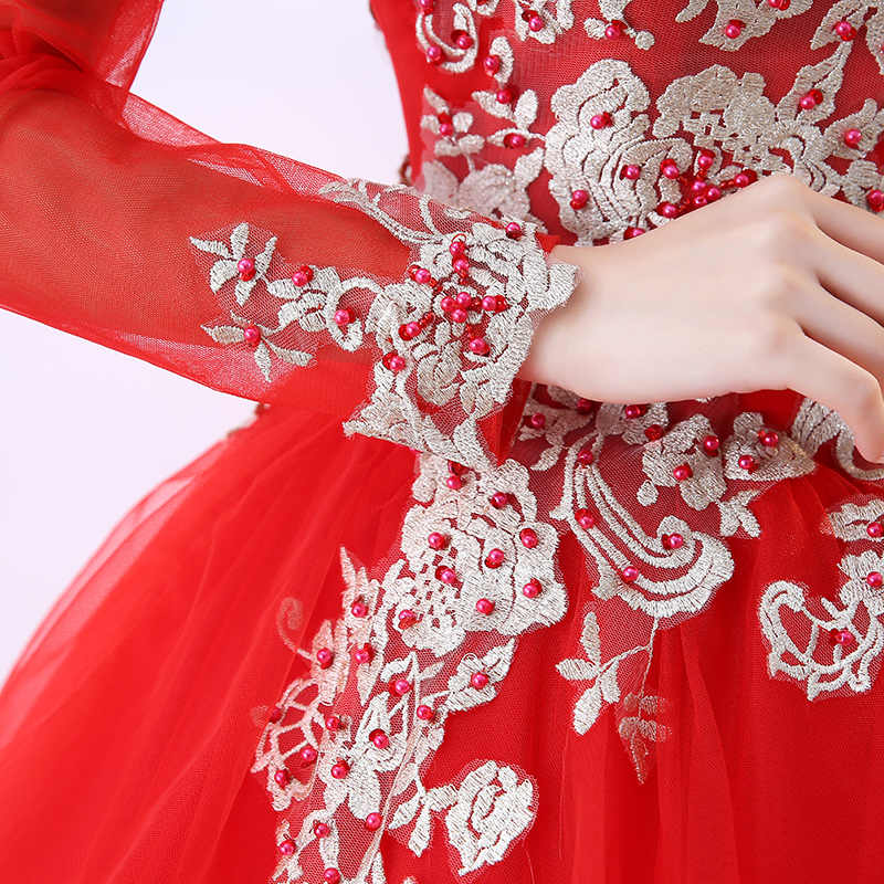 a57dee163b Red Quinceanera Dresses Long Sleeve Ball Gown Lace Beads Sweet 16 Dresses  For 15 Years Floor Length Vestido De Debutante