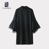 CHURESE Women New Dresses 2017 Autumn Ladies Elegant Butterfly Sleeve Solid Dress Long Sleeve Stand Collar
