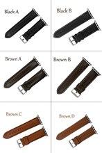 Apple Watch 38mm 42mm Italian Genuine Leather Watch Strap Black