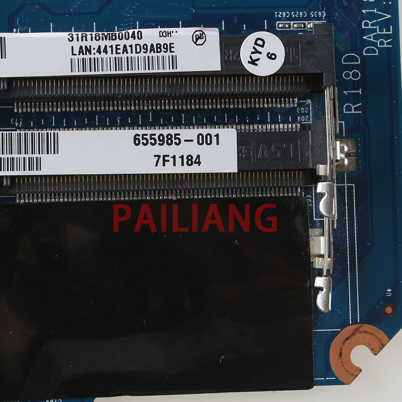 PAILIANG Laptop motherboard for HP G4 G6 G7 PC Mainboard HM55 655985 001 DAR18DMB6D1 tesed DDR3 - 3