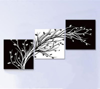 Modern Abstract Home Decorativos Wall Art Pictures Handpainted White Black Tree Oil Paintings on Canvas 3 Panel Wall Painting
