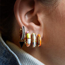 JUJIA Brand 30 designs women statement earring gold skinny rainbow earrings bar classic minimal charming silver CZ hoop earrings свитшот print bar bloodseeker minimal