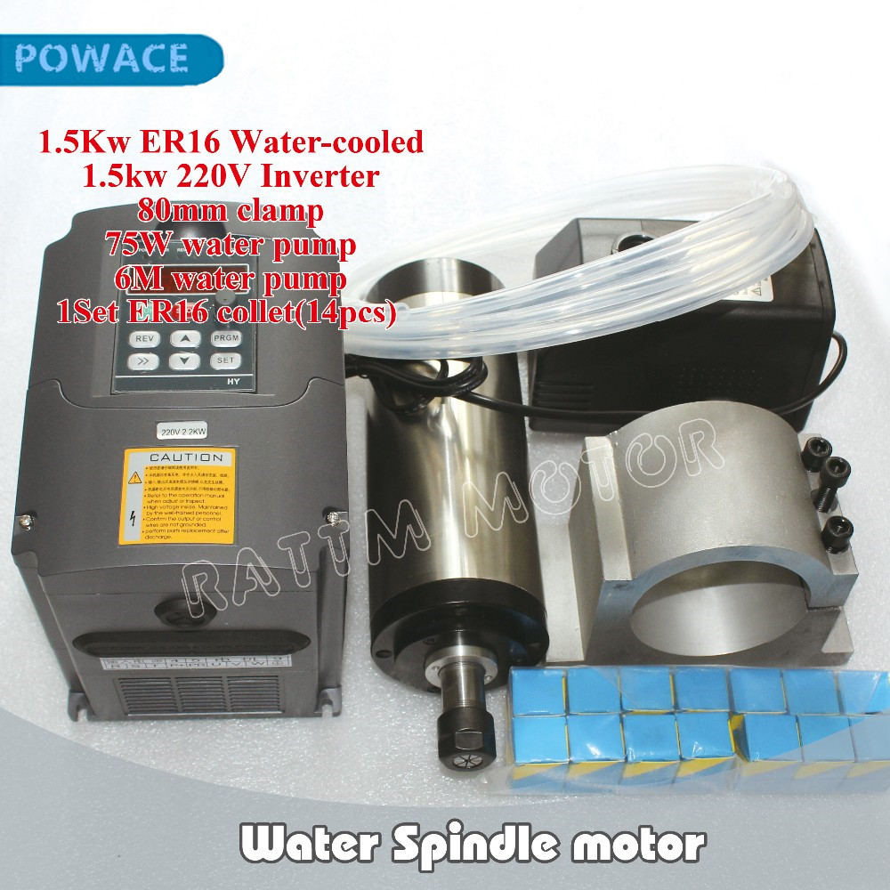 Ukraine free Ship 1 5KW ER16 Water Spindle Motor 220V 4 Bearing 1 5kw Interver ER16