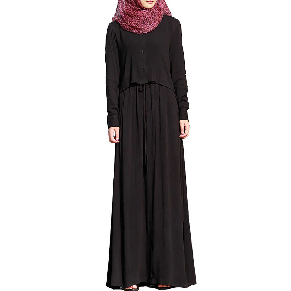 Babalet Muslim Women s Dress Dubai Shirt Collar Black Robe Islamic Arab  Two-Piece Abaya Simple f01918b6d88c