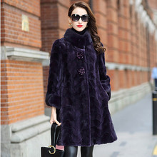LEAYH Luxury Thick Warm Natural Genuine Mink Fur Coat For Women Female Fashion Real Long Jackets Purple Color