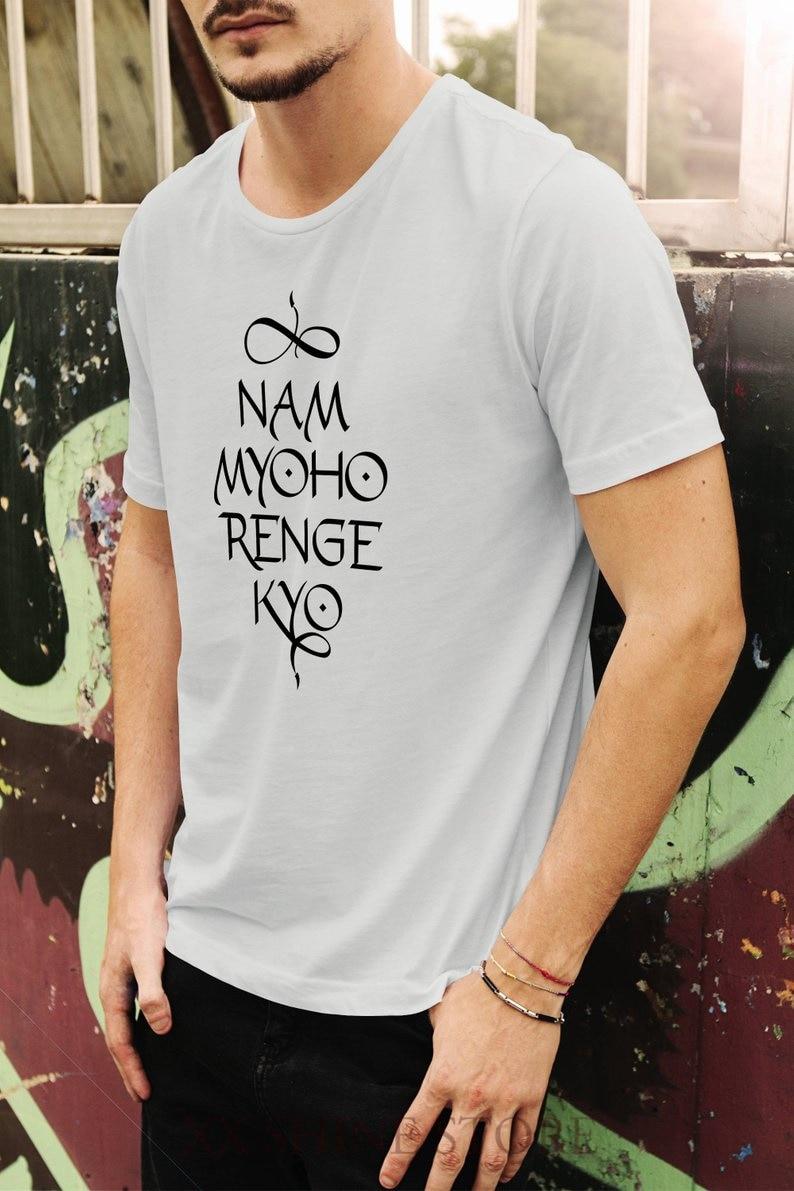 Футболка мужская-Nam myoho renge Кио-римские буквы каллиграфия-ручной экран печатная 100% хлопковая Футболка мужская и женская футболка