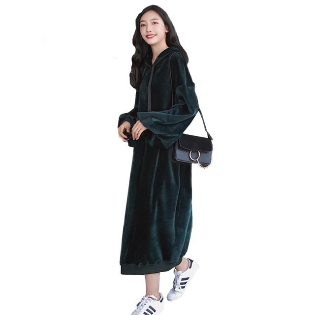 60c867c06d New 2018 Autumn Korean Simple Retro Gold Velvet Hooded Long Sleeve Dress  Loose Casual Oversize Female Big Size Dresses O734
